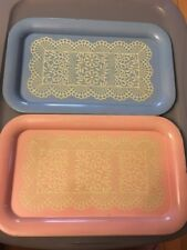 2 Vintage Pink And Blue Doily Lace Pattern Meal / Food / Serving Trays