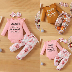 3Pcs Newborn Baby Girl Long Sleeve Romper Tops Dress Pants Clothes Outfits Suit