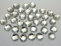 200 Clear Flatback Acrylic Round Sewing Rhinestone Button 10mm Sew on beads