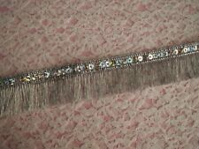 Sequin Metallic Fringe Trim, Gold, Silver, 2 YARDS, Costumes, Christmas Crafts