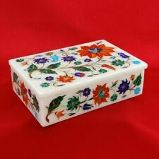 Marble Jewelry Trinket Box Semi Precious Stones Handmade Inlay Work Home Decor