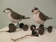 GREEN & BROWN RESIN BIRD PULL TOYS - 2 PC. SET