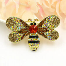 Vintage Style Brown Rhinestone Bee Insect Gold-tone Brooch Pin Crystal Woman