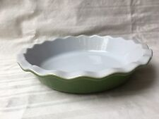 """Emile Henry Deep Pie Quiche Dish Ruffled 9"""" Green Pie Dish France"""