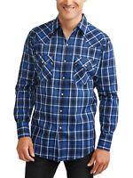 Plains Western Big Men's Long Sleeve Plaid Shirt - Light Navy Plaid - 4XL