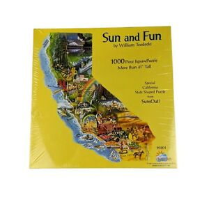 """Suns Out Rare 1000 Piece Shaped Puzzle. """"Sun and Fun"""" by William Teodecki. NEW."""