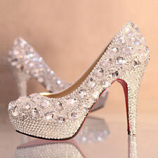 Gorgeous Silver/Red Rhinestone Wedding Dress Bridal Prom Party High Heels Shoes