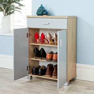 Sonoma Oak Grey Shoe Cabinet Storage 2 Door 1 Drawer Hallway Cupboard Shoe
