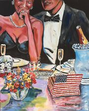 Cigar Man Cave and Babe Champagne Original Art Painting DAN BYL Modern 5x4ft