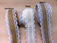 Natural Jute Hessian Burlap Lace Edge Ribbon Vintage Wedding Rustic Craft Ribbon