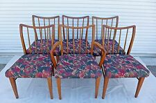 Set of 6 Curved Spindle Back Dining Chairs Mid Century Modern Solid Wood Chair