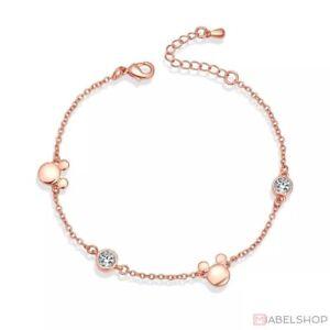 Armband, Damen, Edelstahl, Armbänder, Mickey, Maus, Anhänger, Disney, Rosegold