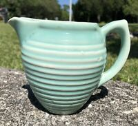 VTG Antique EARLY MCCOY 1920'S GREEN RIBBED (ringed) MILK CREAMER PITCHER