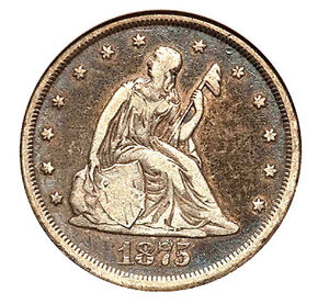 1875-CC 20C F15 ANACS - Seated Liberty
