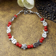 HOT Free shipping New Tibet silver multicolor jade turquoise bead bracelet S65