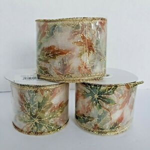 """Fall Autumn Maple Leaves 3 Rolls x 10 Yards Sheer Wire Edged Ribbon 2 1/2"""""""