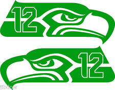 "Seattle Seahawks 12th MAN Decals L/Ri PAIR 4""x9"" Bright Green"