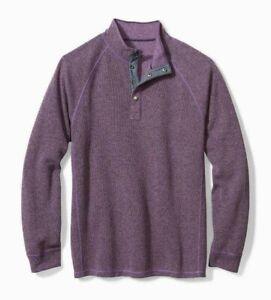 Tommy Bahama Reversible Palm Canyon Flip Snap Mock Sweater Mens Grape S NWT