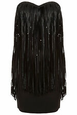 New TOPSHOP beaded tassel dress by Rare UK 10 in Black