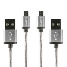 2x Micro USB Kabel 2m Schnellladekabel Android Samsung S6 Huawei PS4 XBOX Silber