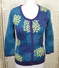M&S Per Una Blue Cotton Cardigan 8 10 Floral Geometric Purple 3/4 Sleeves Jumper