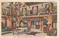 c1930 :Lobby Lake McDonald Hotel, Glacier National Park Hileman Color Postcard