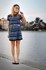 Missoni Target blue zigzag chevron Lined knit Tunic sweater dress SZ M SEAL BAG