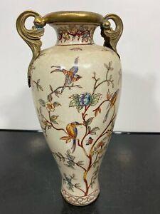 Vintage Brass Handle Decorative Ceramic Art Statue Vase