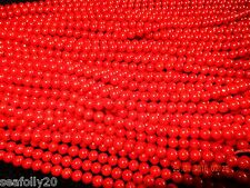 1 X STRAND, 7mm ROUND DARK RED CORAL (DYED)  BEADS, GRADE A, 55 + pcs FREE POST