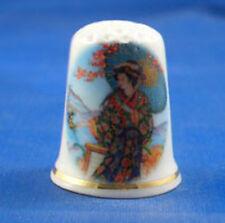 Birchcroft China Thimble - Oriental -- Japanese Lady & Parasol  -- Free Dome Box