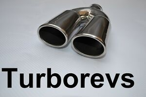 NEW STAINLESS STEEL TWIN EXHAUST MUFFLER TAIL PIPE TIP - ABX BMW VW VAUXHALL