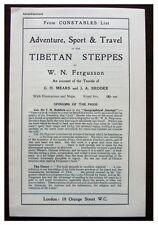 1911 Original Prospectus - TIBETAN STEPPES - Fergusson - BROOKE - Meares