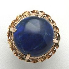 Vintage rose gold Lapis Lazuli Cocktail Ring Large Round Estate 14k Blue