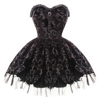 Hell Bunny Black Damask Petal Gothic Victorian Steampunk Mini Party Prom Dress