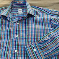 PETER MILLAR L/S Button Down Shirt Men's Small Weekender Finish Plaid Pink Blue