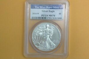 2014 W (Burnished) Silver Eagle PCGS MS 70