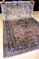 Blumen KASCHMIR SEIDE Seidenteppich Top Silk Orient Rug TEPPICH 182x122cm #0989