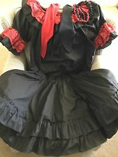 Black and Red Square Dancing Outfit - Size L - SEE DESCRIPTION FOR EXTRAS