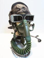 Flight Helmet Fighter Pilot Flight Leather Helmet Oxygen Mask Goggles Size:2#