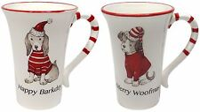 SET OF 2 CHRISTMAS DOG HAT JUMPER MUGS CREAM RED GREY 14.5CM X 14CM X 10CM