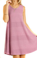 UMGEE Womens Pink Ribbed Chic Stretch Knit Sleeveless  Swinger Flowy Dress S M L