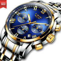 Men's Fashion Luxury Watch Stainless Steel Date Sports Analog Quartz Wristwatch