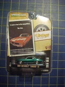 1/64 GREENLIGHT 1969 CHEVROLET CAMARO SS GREEN MACHINE CHASE! VINTAGE AD CARS