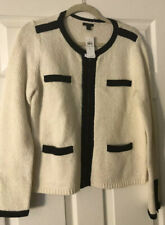 Ann Taylor Nwt  Ivory& Black Zipfront Wool Cardigan Size Large $89