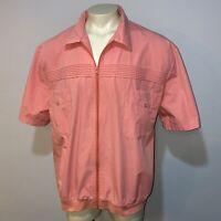 Vtg 70s 80s Pink JOHN BLAIR Shirt Jacket Pool Leisure Full Zip Mod MENS 3XL TALL