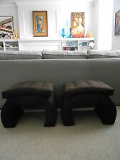 Vintage Pair Upholstered Tufted Ming Base Hollywood Regency Ottomans REDO's!