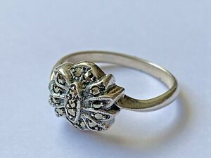 Vintage Sterling Silver Marcasite Ladies Art Deco Style Dress Ring size - P