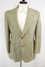 DAKS Green Wool Triple Patch Pocket Tweed Suede Leather Accent Btns Elbows 39R