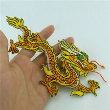 Sew Embroidered Auspicious Yellow Dragon Cloth Iron on Patch Sequin Appliques