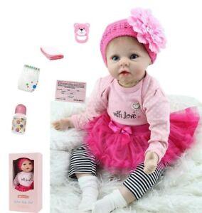 55CM Rebornpuppen BabyWeiche Silikon Vinyl Baby Lebensechte Kinder Spielzeug DE